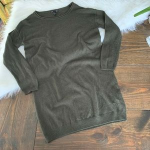 H&M XS Army Olive Green Raw Roll Hem Tunic Sweater